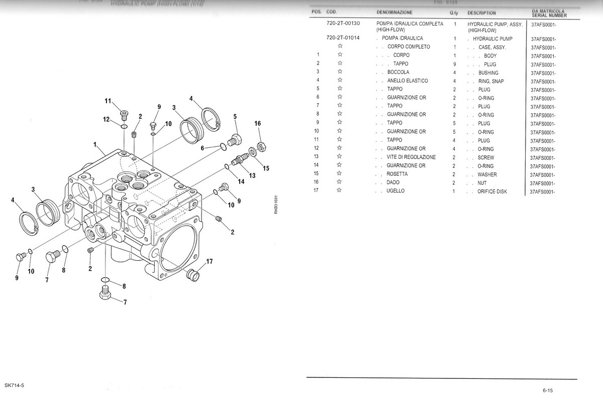 hydraulic pump high flow 720-2t-00131 ex 720-2t-00130 originally fitted on komatsu  sk714-5 s/n 37afs0409